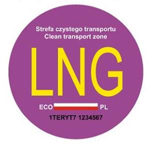 naklejka na samochód zasilany gazem LNG